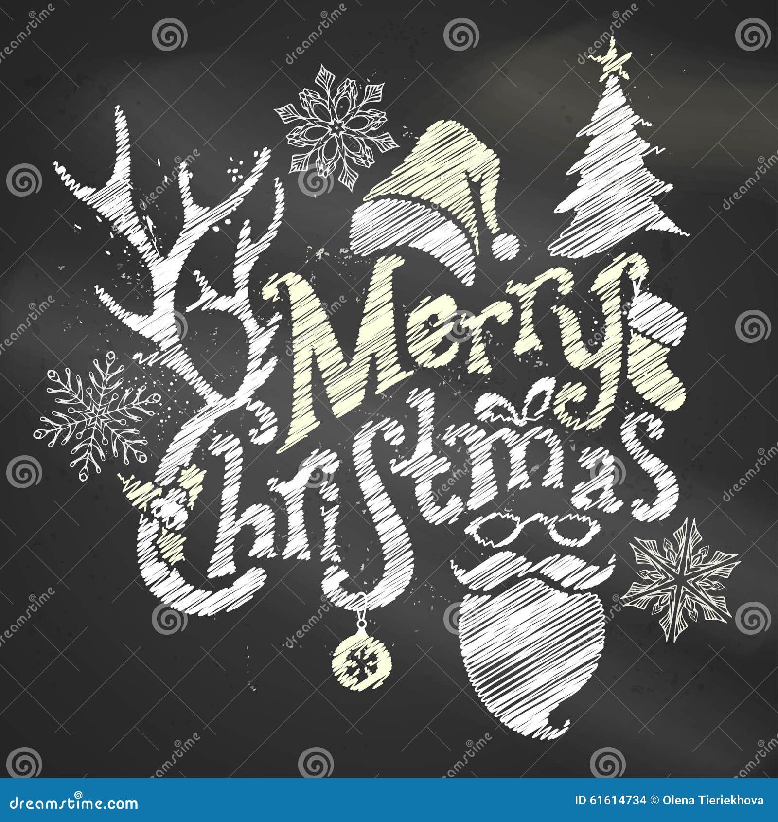 Christmas Board Design.Chalk Merry Christmas Design Stock Vector Illustration Of