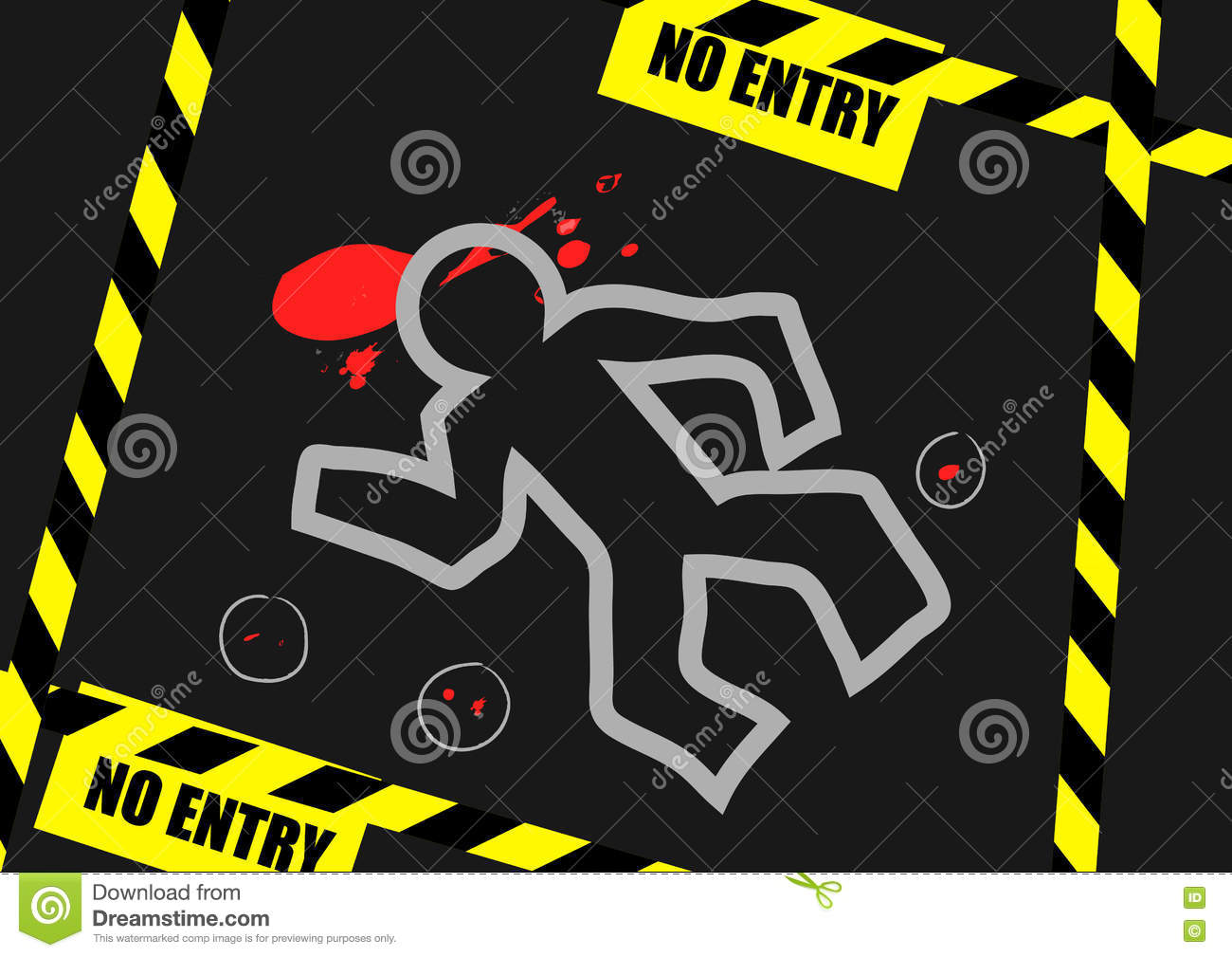 Illustration Chalk Outline Of Dead Body Blood And No Entry Label On