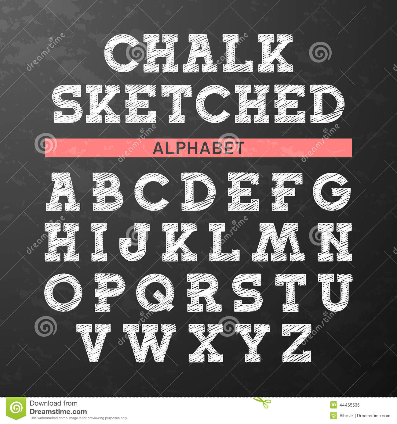 Chalk Sketched Font Alphabet Stock Vector Illustration