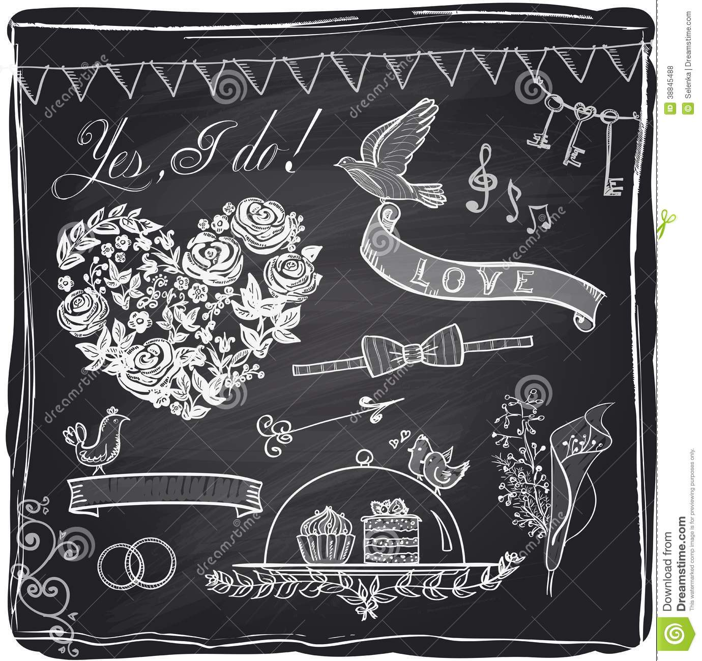 Chalk Wedding Hand Drawn Graphic Set: Drawn Chalkboard Wedding Ring At Reisefeber.org