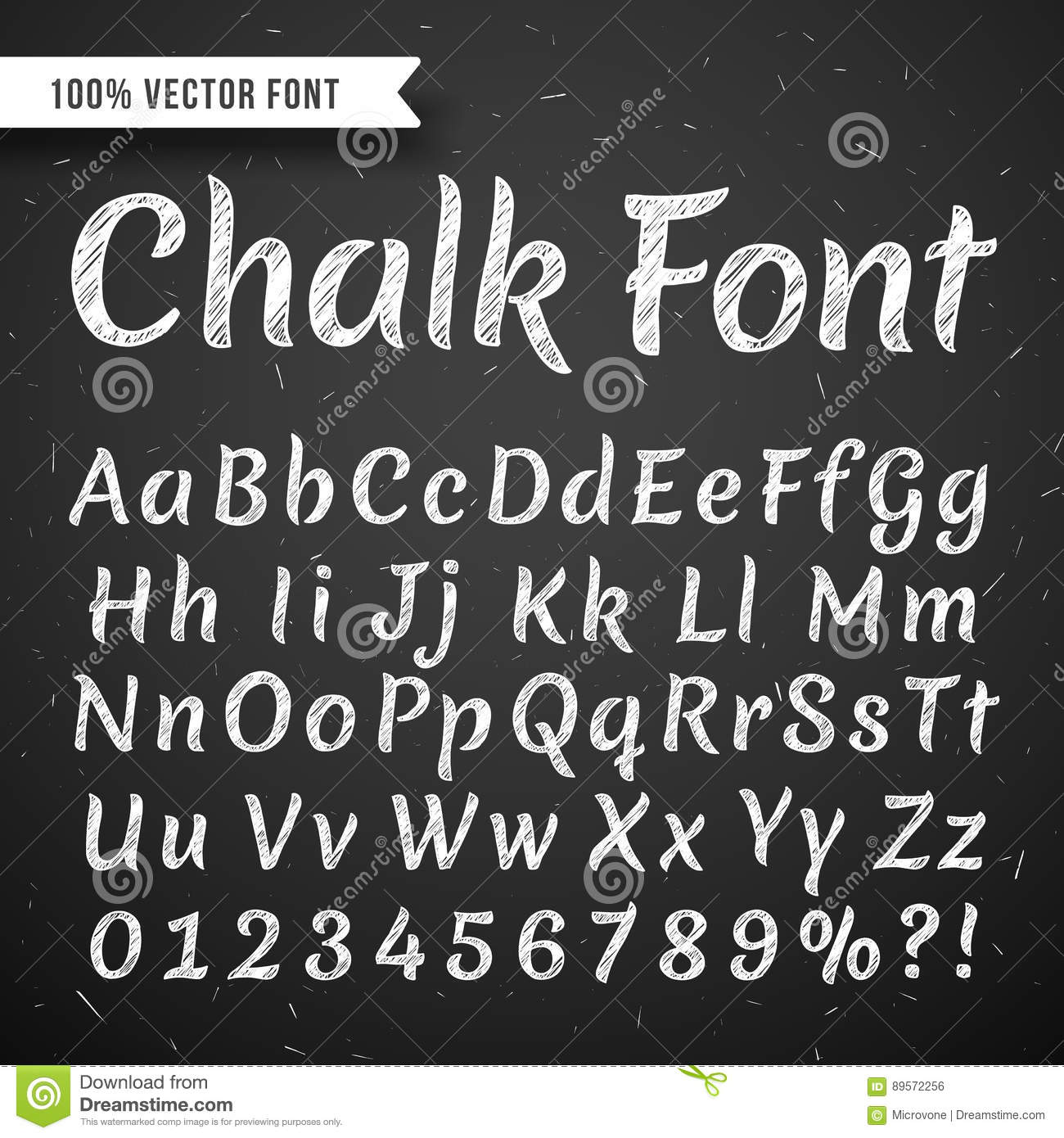 chalk white calligraphy letters vector writing alphabet isolated on
