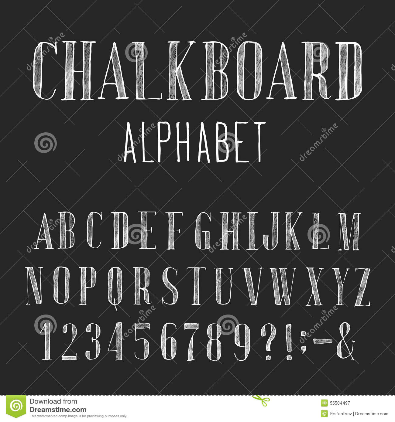 Chalkboard Alphabet Vector Font Stock Vector  Illustration Of