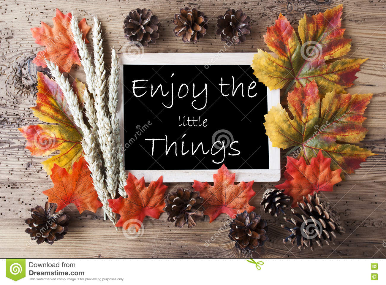 Marvelous Download Chalkboard With Autumn Decoration, Quote Enjoy The Little Things  Stock Photo   Image Of