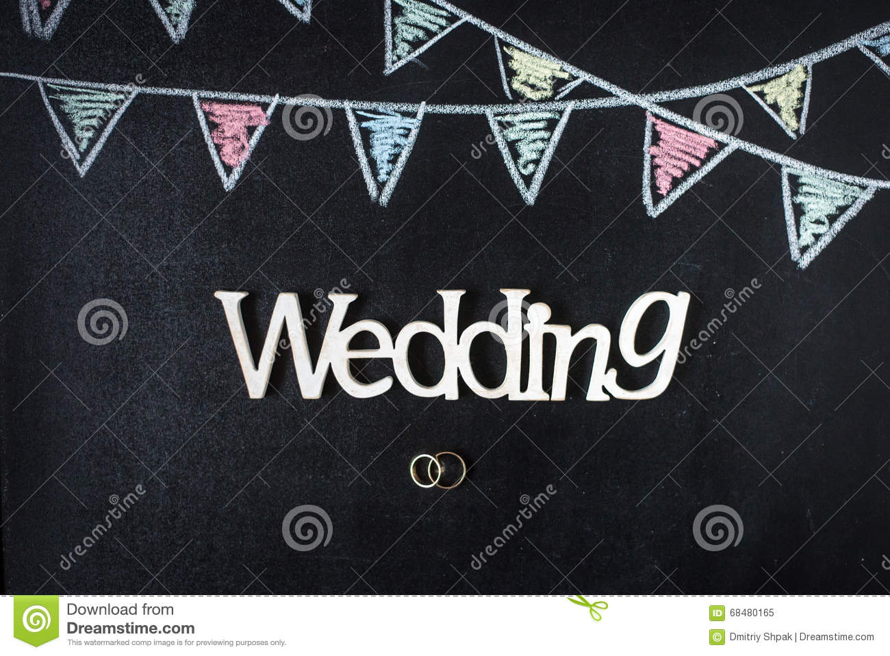 Chalkboard Background With Drawing Bunting Flags Rings And Wedding: Drawn Chalkboard Wedding Ring At Reisefeber.org