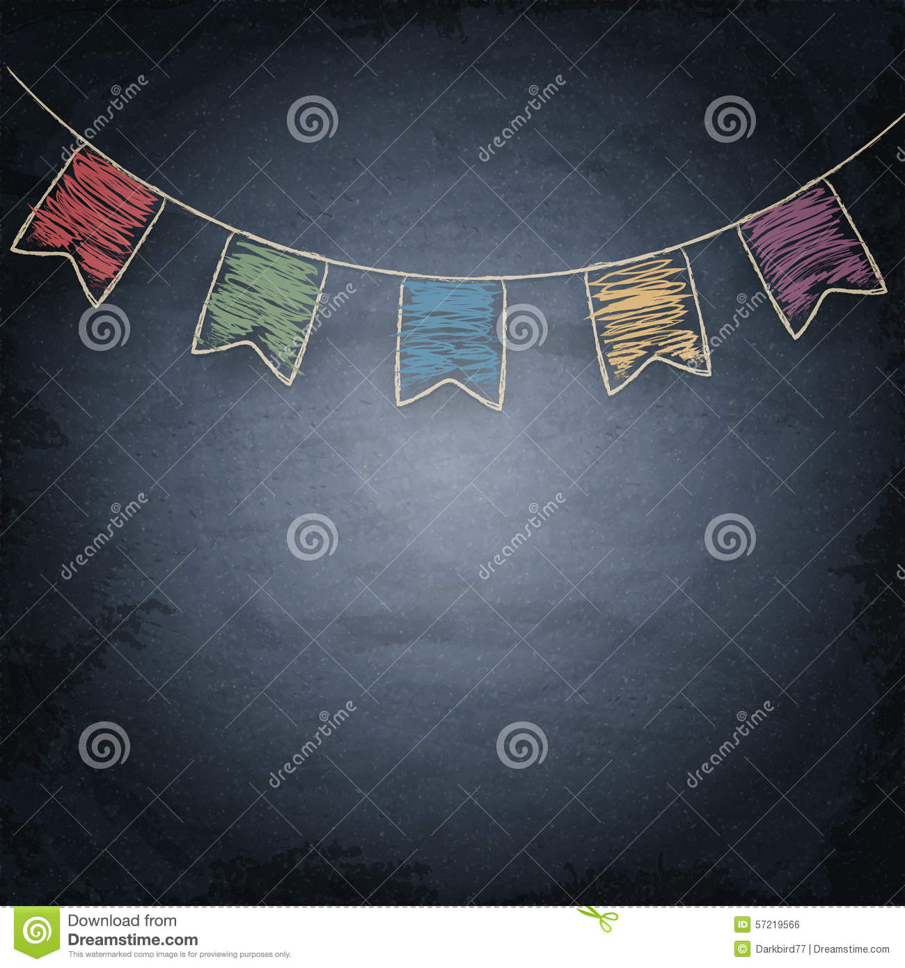 chalkboard background with drawing bunting flags stock illustration