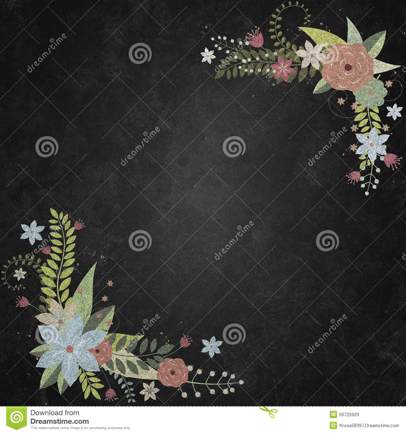 Chalkboard With Background Floral Borders