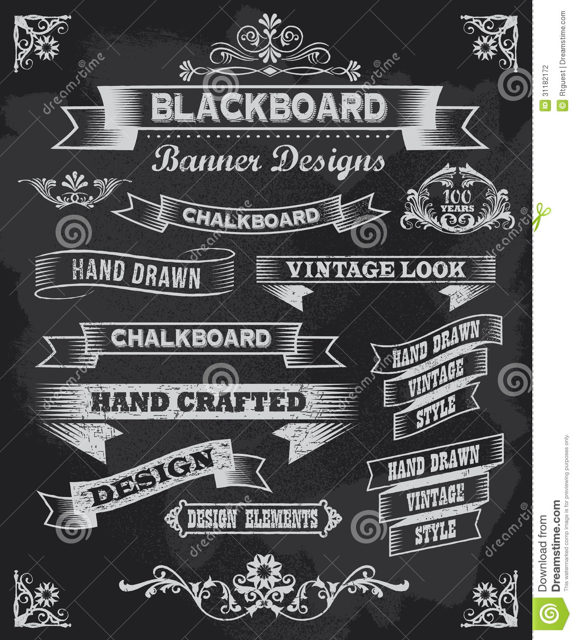 Chalkboard Banners And Vector Frames Stock Vector Image