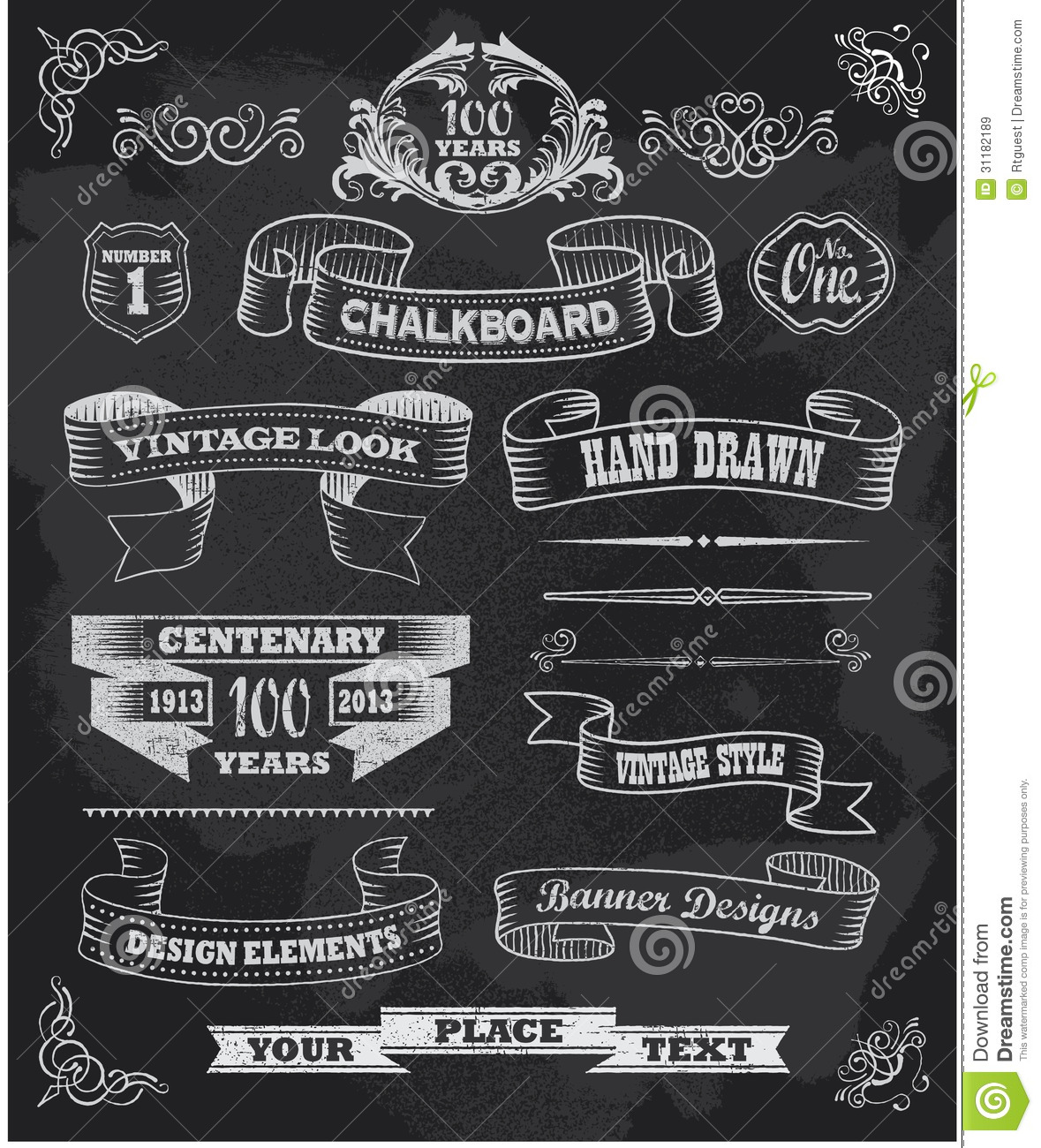 Chalkboard Banners And Ribbons Set On A Black Back Royalty Free Stock ...