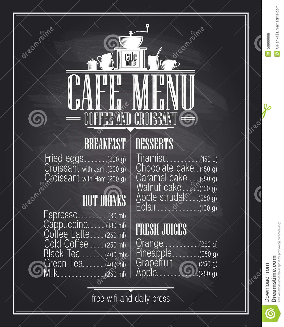 coffee price list template - chalkboard cafe menu list design with dishes name stock