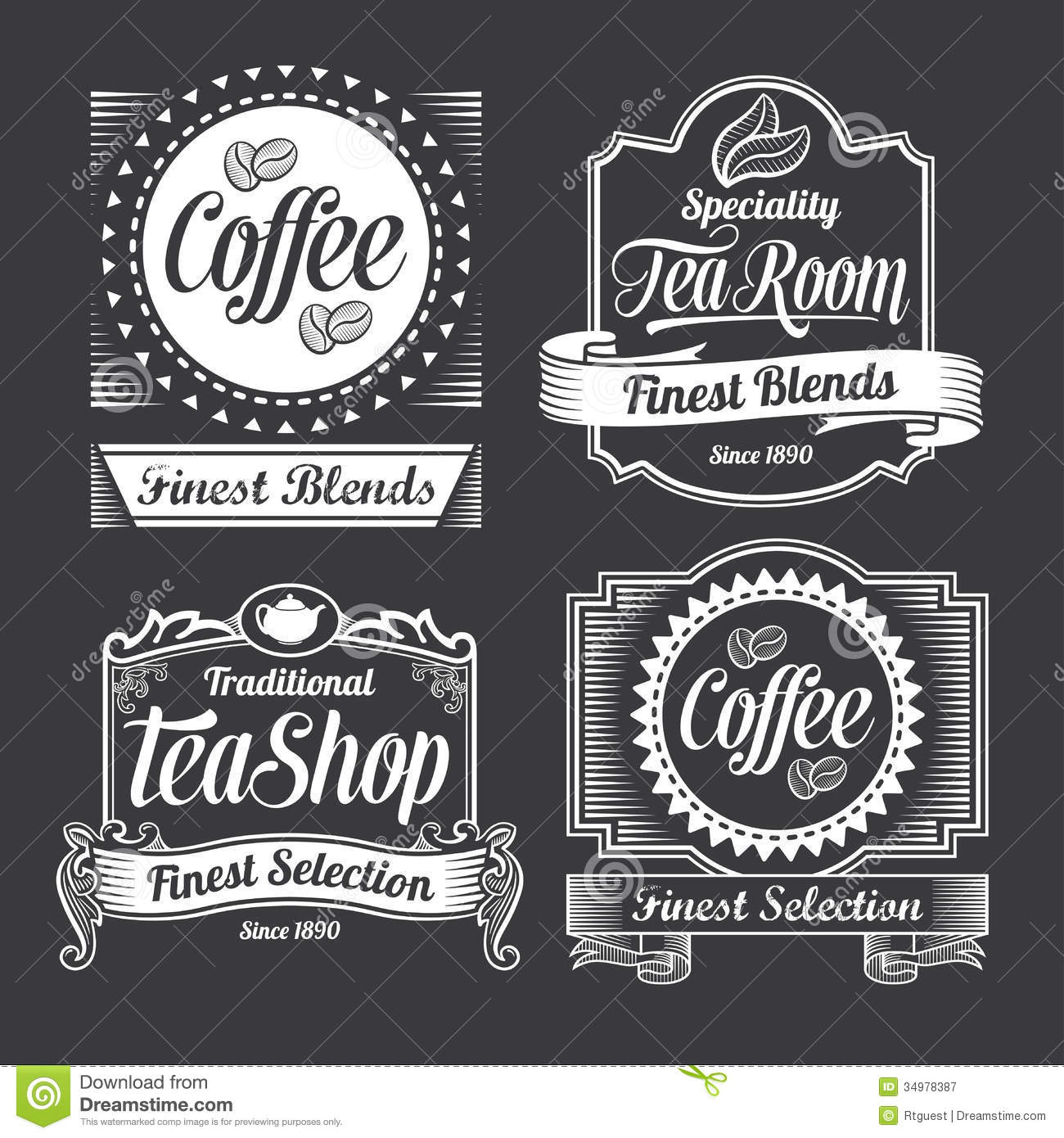 Chalkboard Calligraphy Banners And Labels Stock Vector