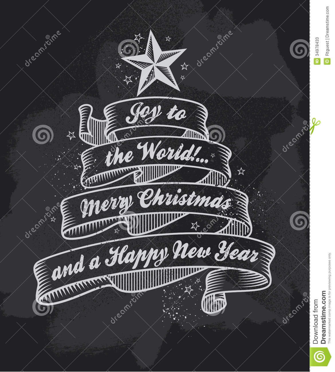 Chalkboard Christmas Calligraphy Banner Stock Photos - Image: 34978433