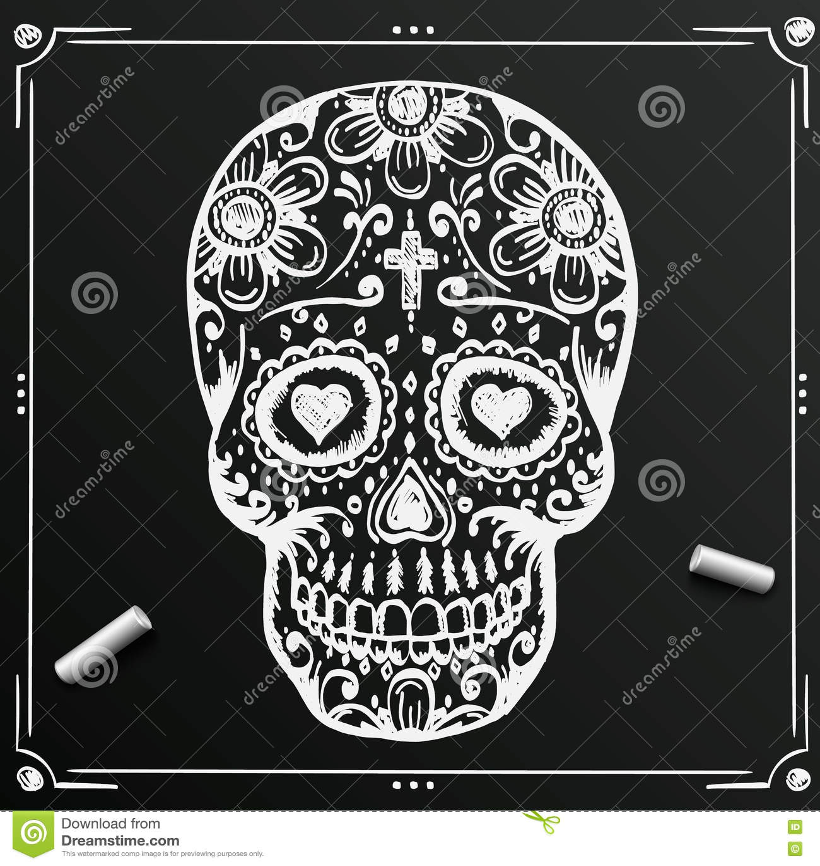 Chalkboard Day Of The Dead Skull Sketch Draw Sugar Flower Tattoo