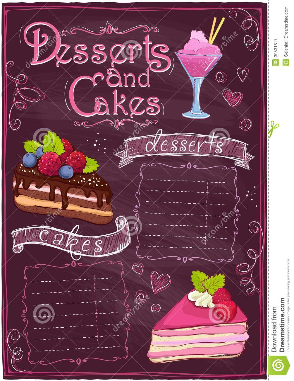 Chalkboard Desserts And Cakes Menu Stock Vector