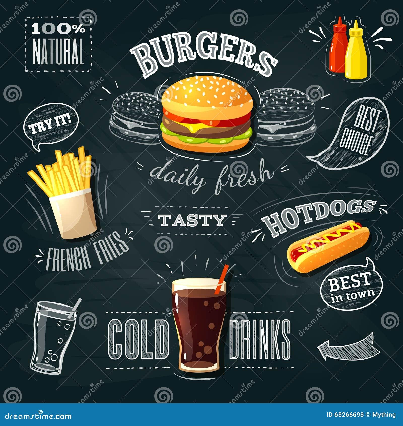 Chalkboard Fastfood ADs Hamburger French Fries And