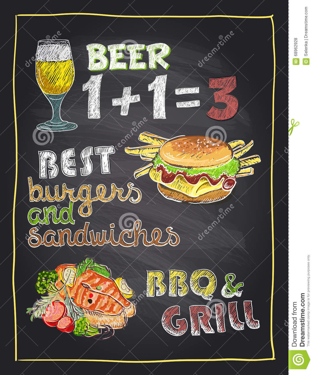 Chalkboard hand drawn menu with beer burger and grilled for Max fish menu