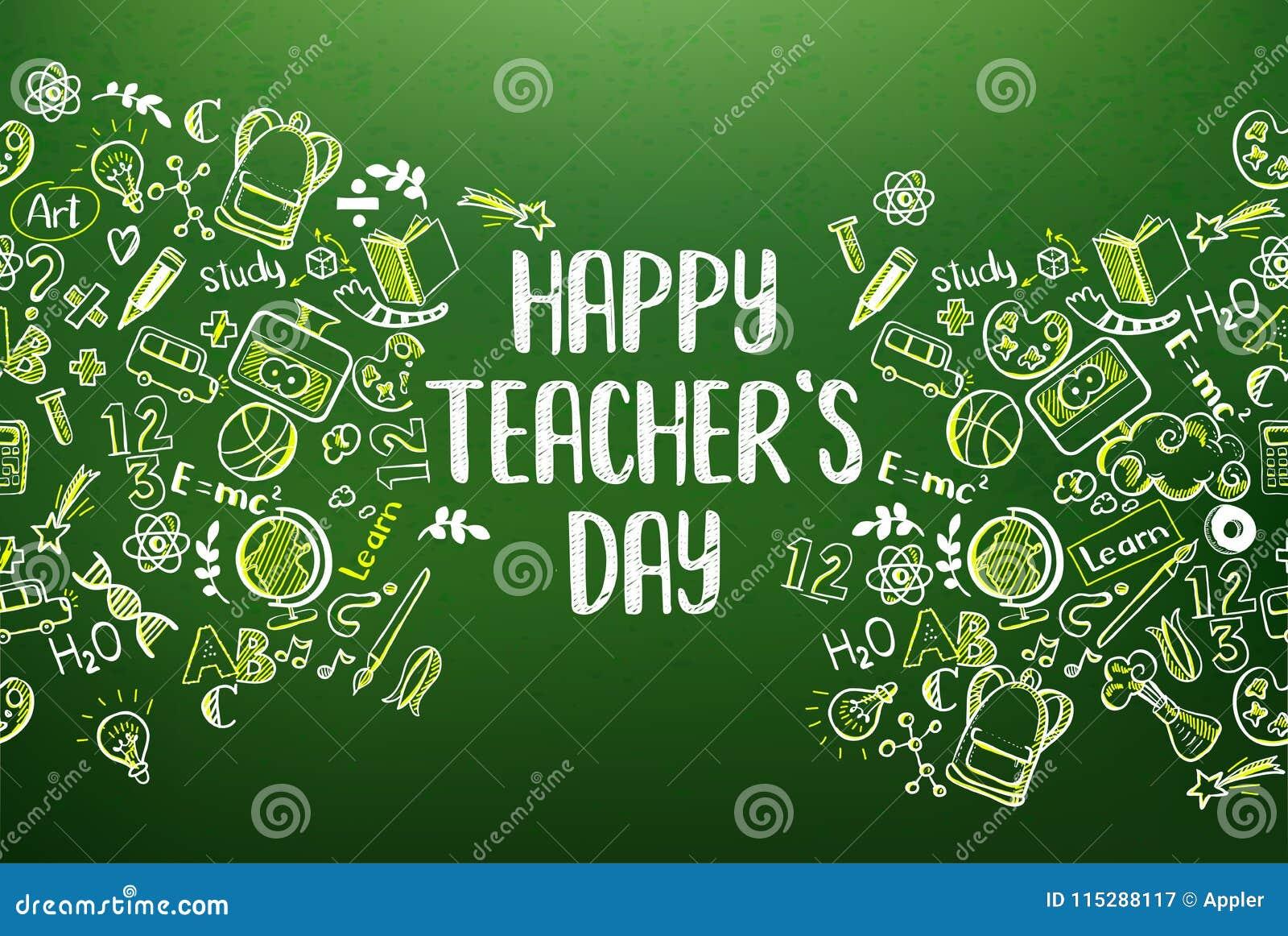 Chalkboard with happy teachers day