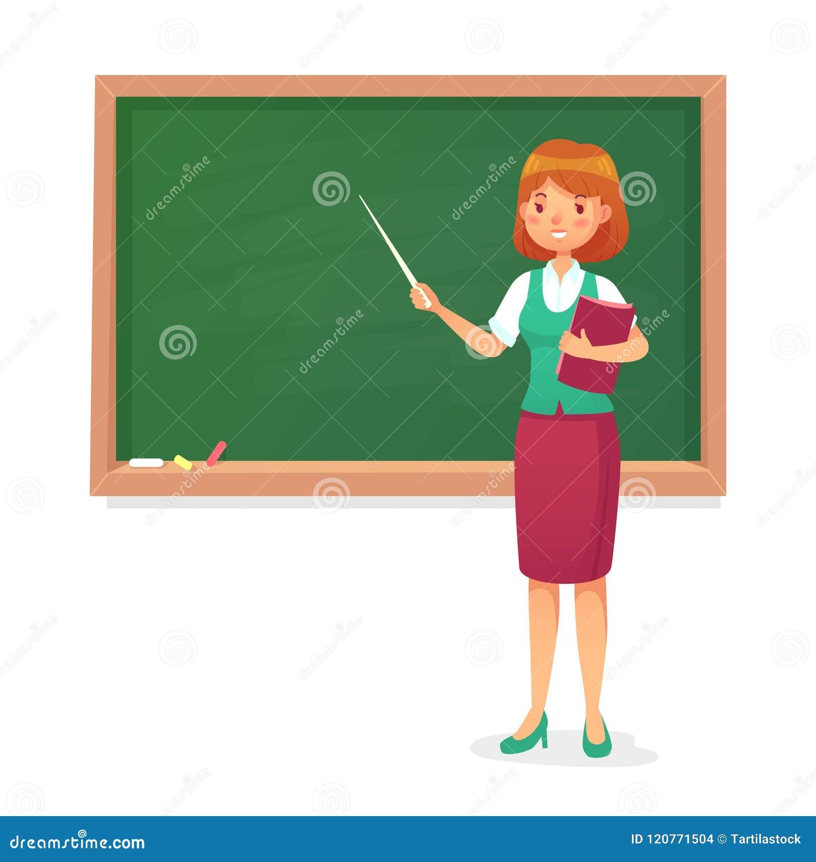 Chalkboard i nauczyciel Żeński profesor uczy przy blackboard Lekci kobiety nauczyciele przy zarząd szkoły kreskówki wektorem