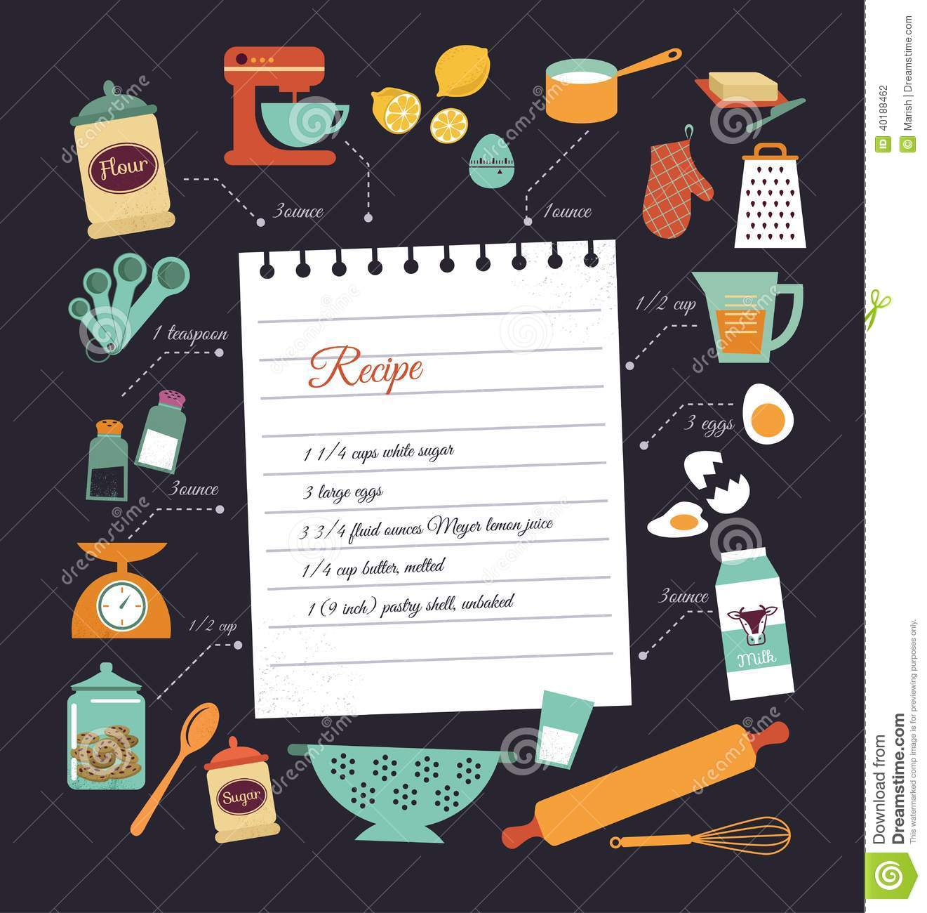chalkboard meal recipe template vector design stock vector