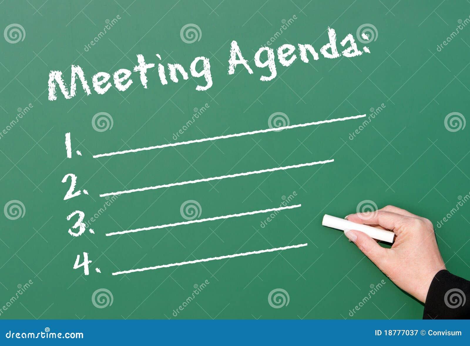 chalkboard meeting agenda stock image  image of hand