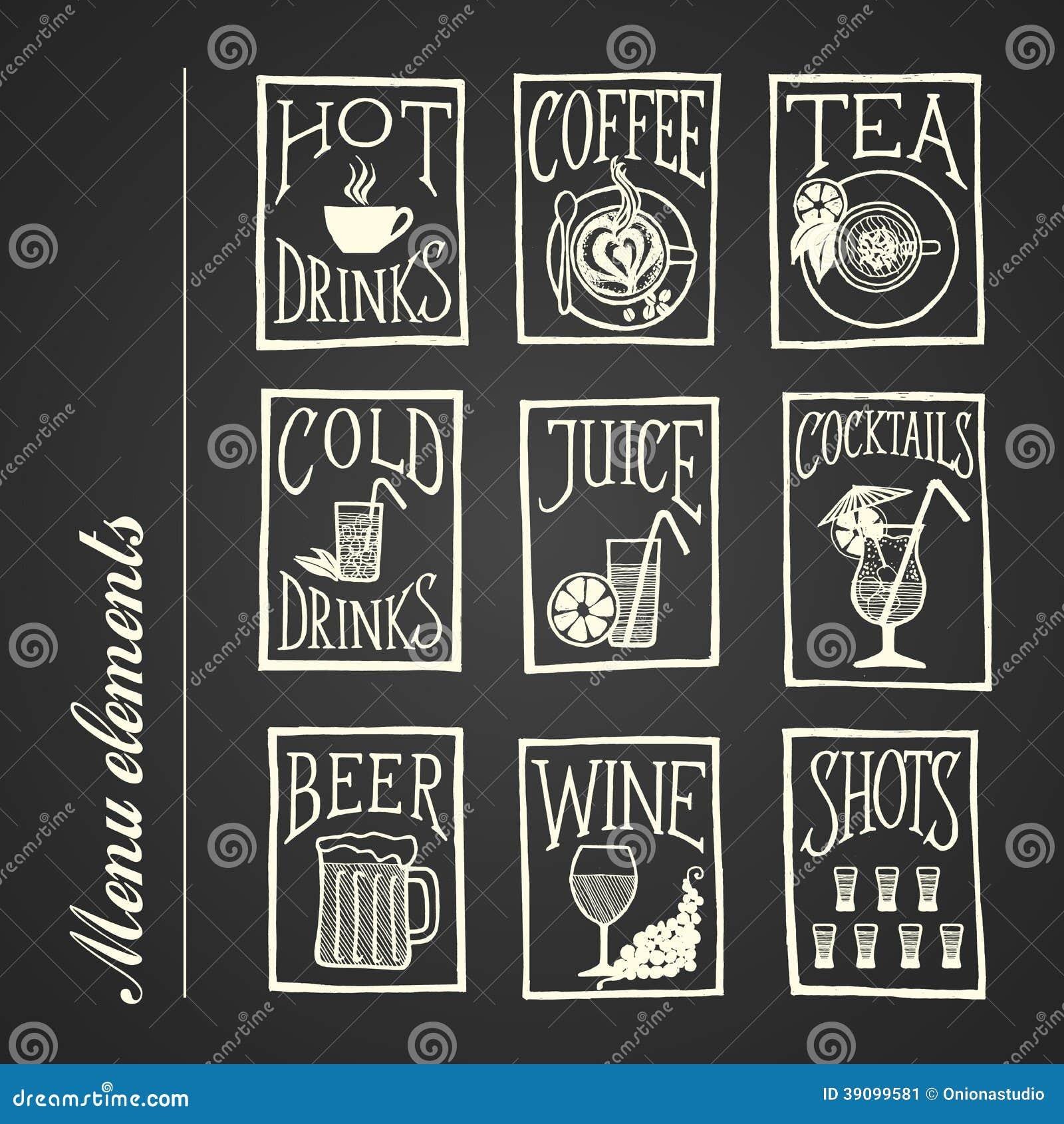 chalkboard menu icons - drinks stock vector