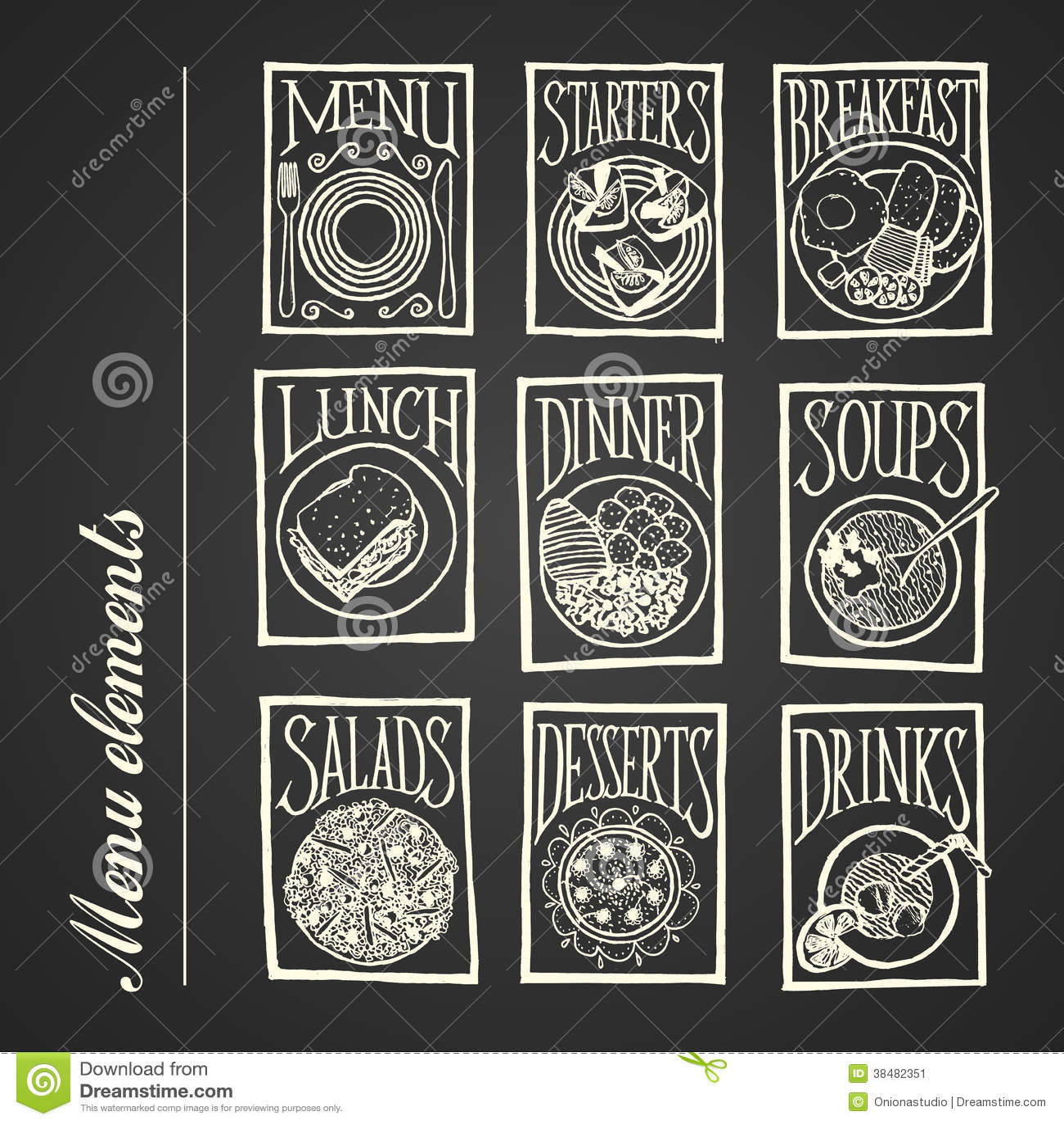 Chalkboard Menu Icons Meals Stock Image Image 38482351