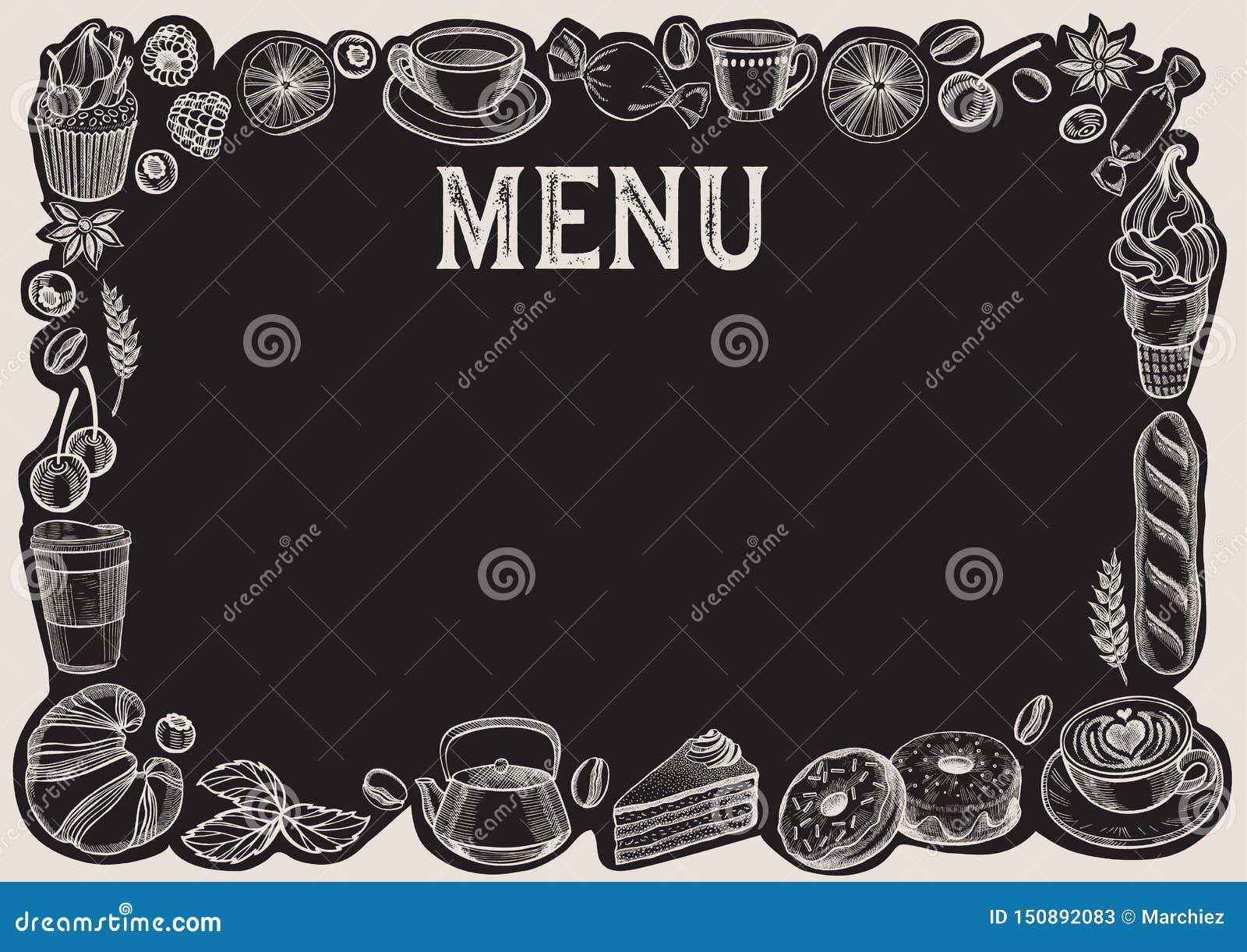 Chalkboard Menu Template For Restaurant Background And Food Frame Stock Vector Illustration Of Design Doodle 150892083