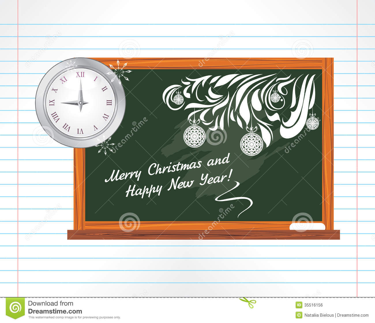 Citaten School Holiday : Chalkboard on the notebook page christmas school stock