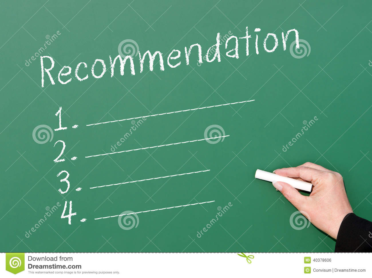 Green chalkboard with a blank list of numbered recommendations and a ...