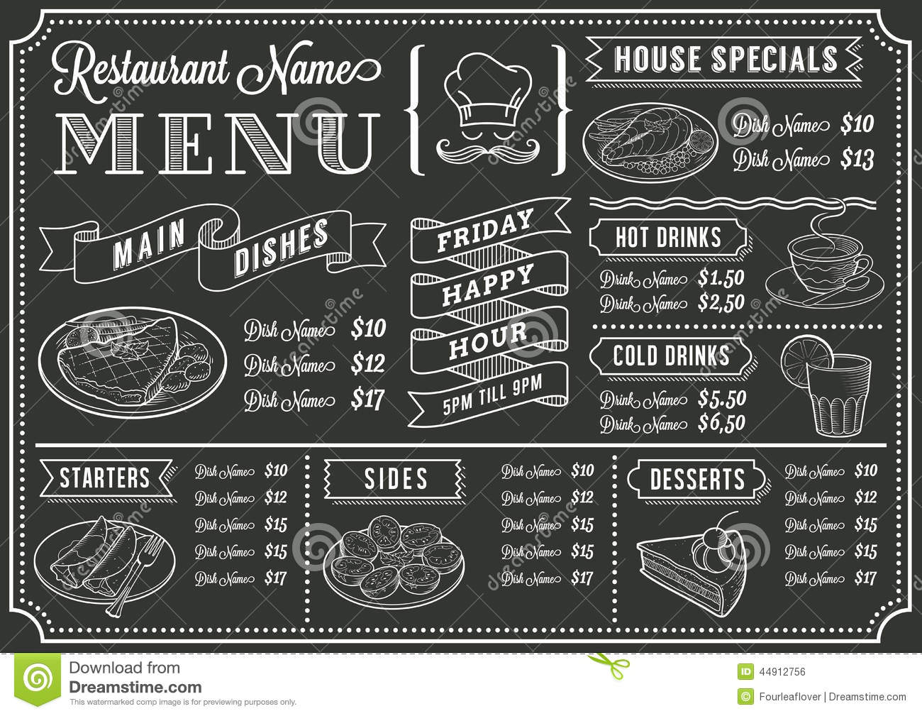 chalkboard restaurant menu template stock vector illustration of
