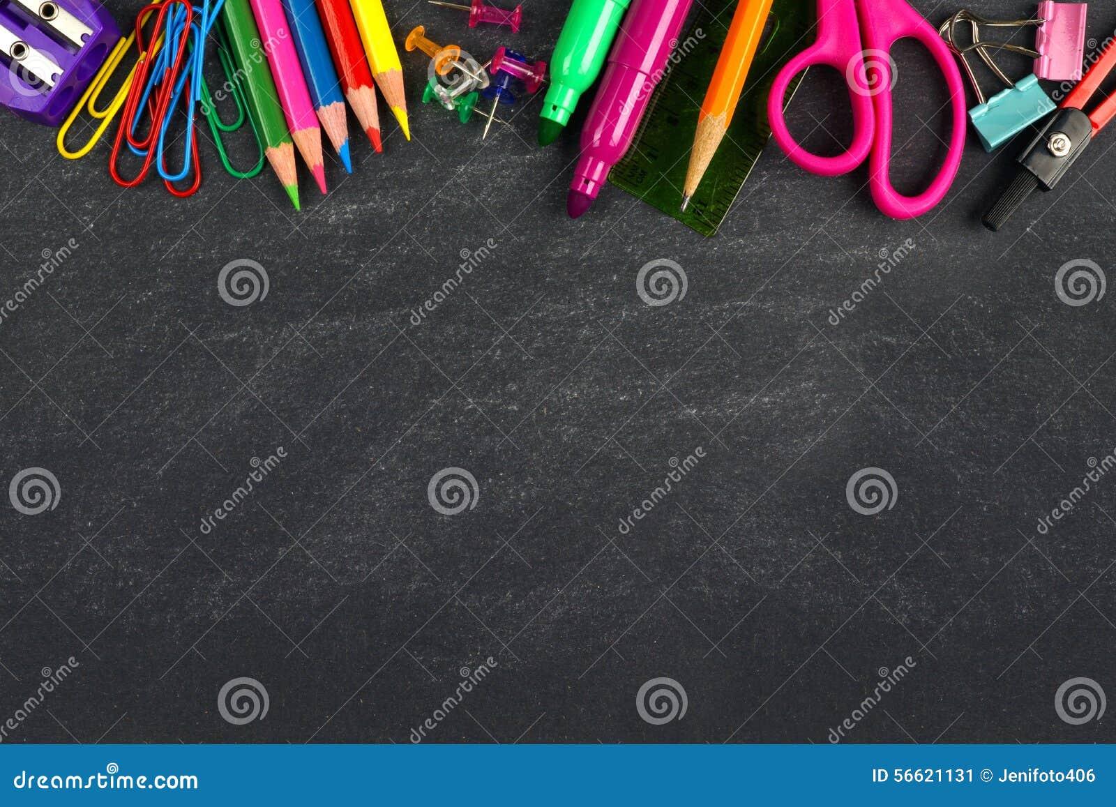 Chalkboard with school supplies top border