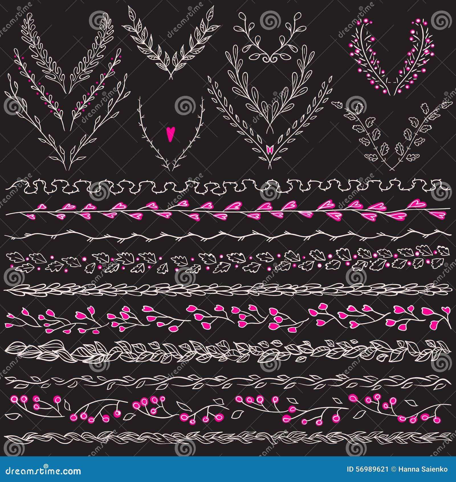 Download Chalkboard Set Of Hand Drawn Floral Graphic Design Elements Frame,  Divider And Lines Border