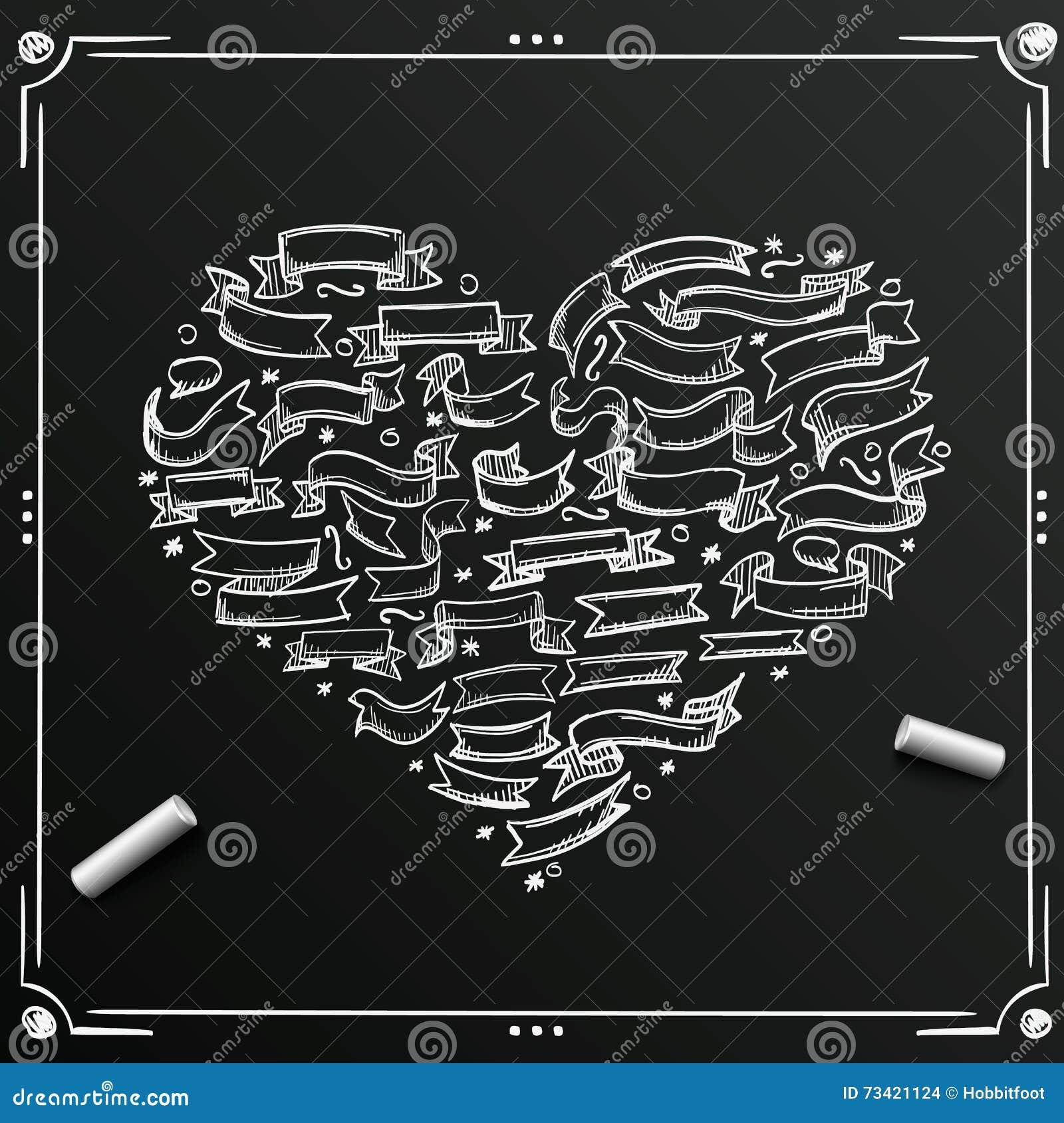 Chalkboard Sketch Of Hand Drawn Ribbon Heart Template Design Element Vector Vintage