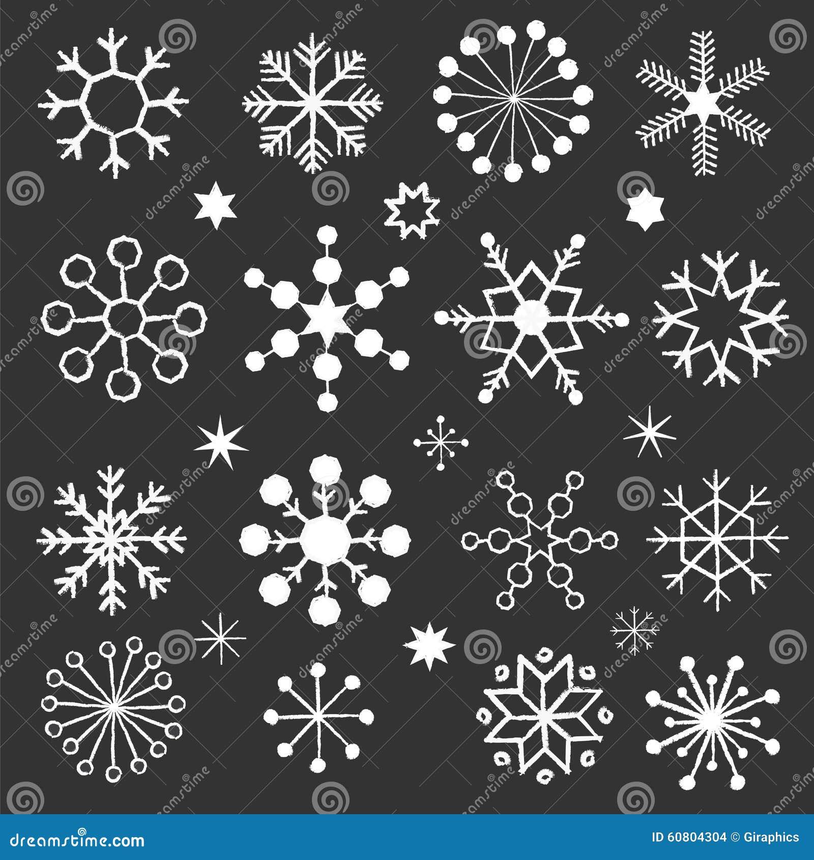 Chalkboard Snowflakes Stock Vector Illustration Of