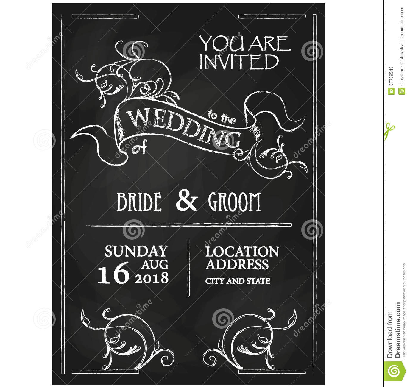 Retro Vintage Wedding Chalkboard Invitation Royalty Free – Chalkboard Invitation