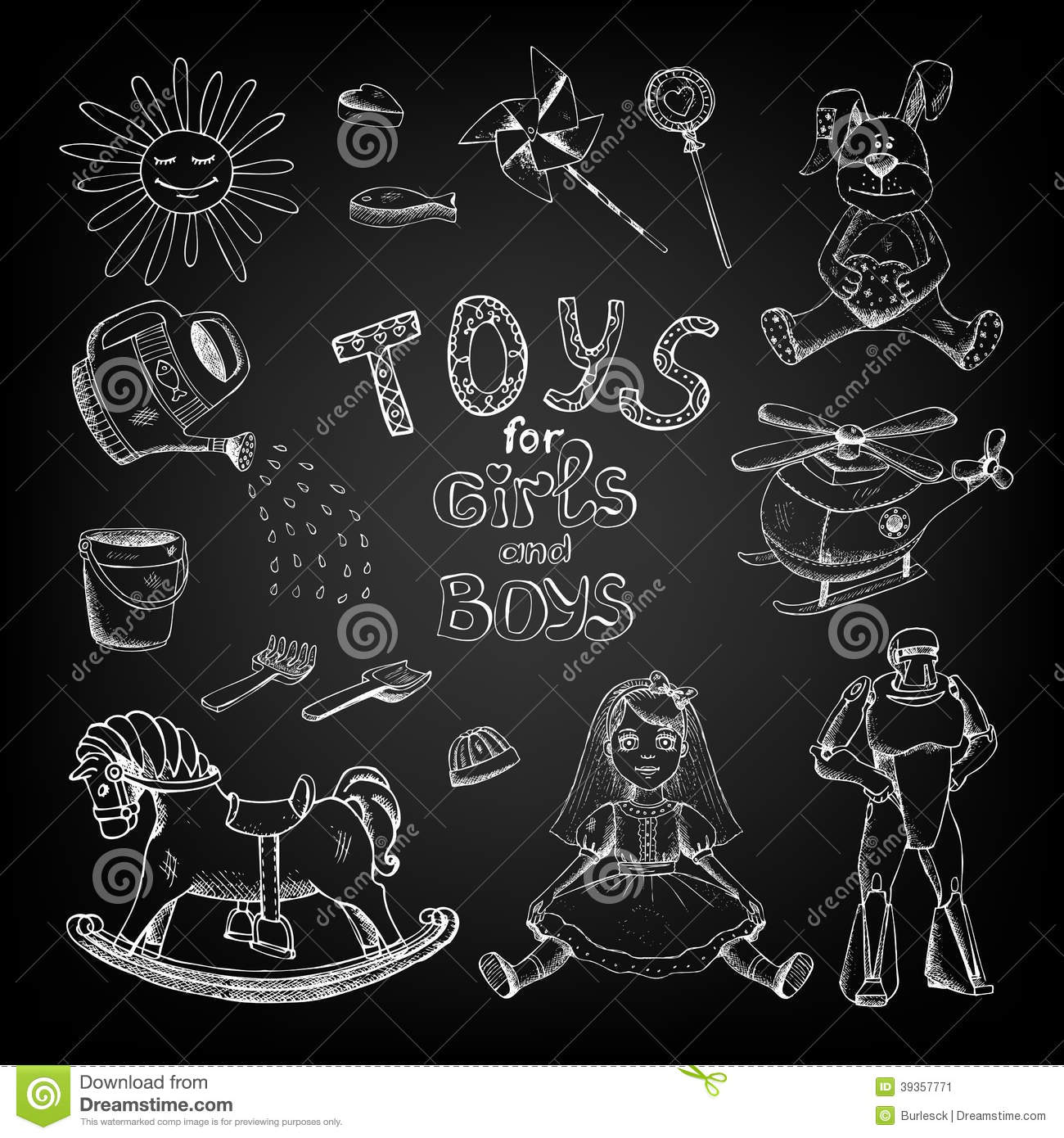 Chalkboard Toys For Girls And Boys Stock Vector Image 39357771