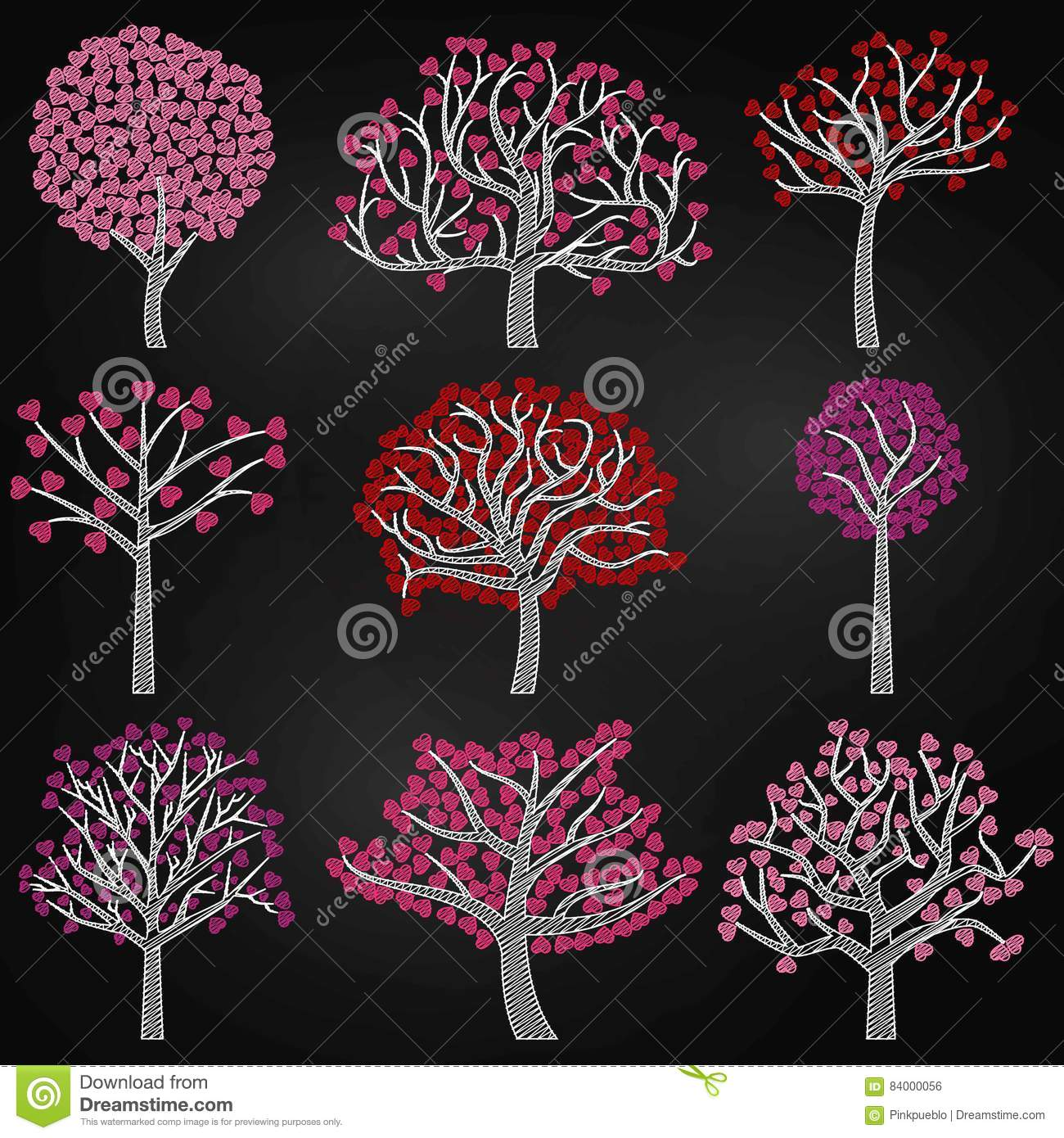 Chalkboard valentines day tree silhouettes with heart shaped leaves chalkboard valentines day tree silhouettes with heart shaped leaves mightylinksfo