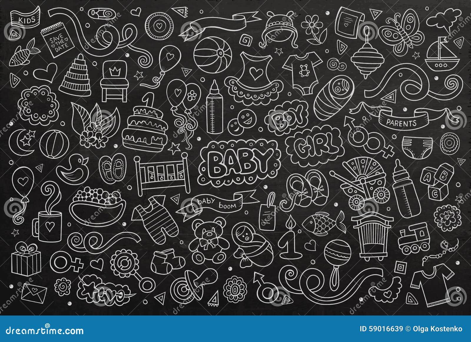 chalkboard vector hand drawn doodle cartoon set of stock