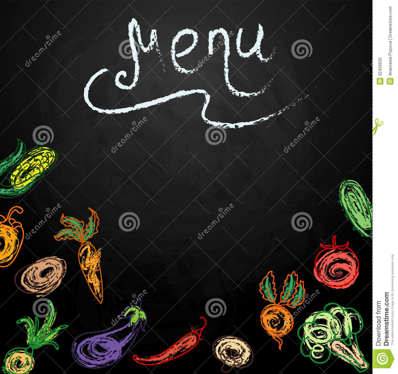 Chalkboard With Vegetables For Restaurant Menu Royalty