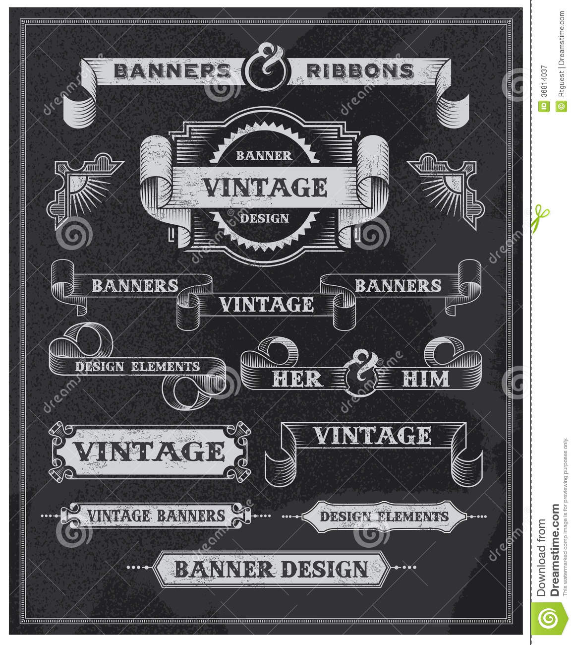 Vintage Banner And Ribbon Design Elements Stock Vector ...