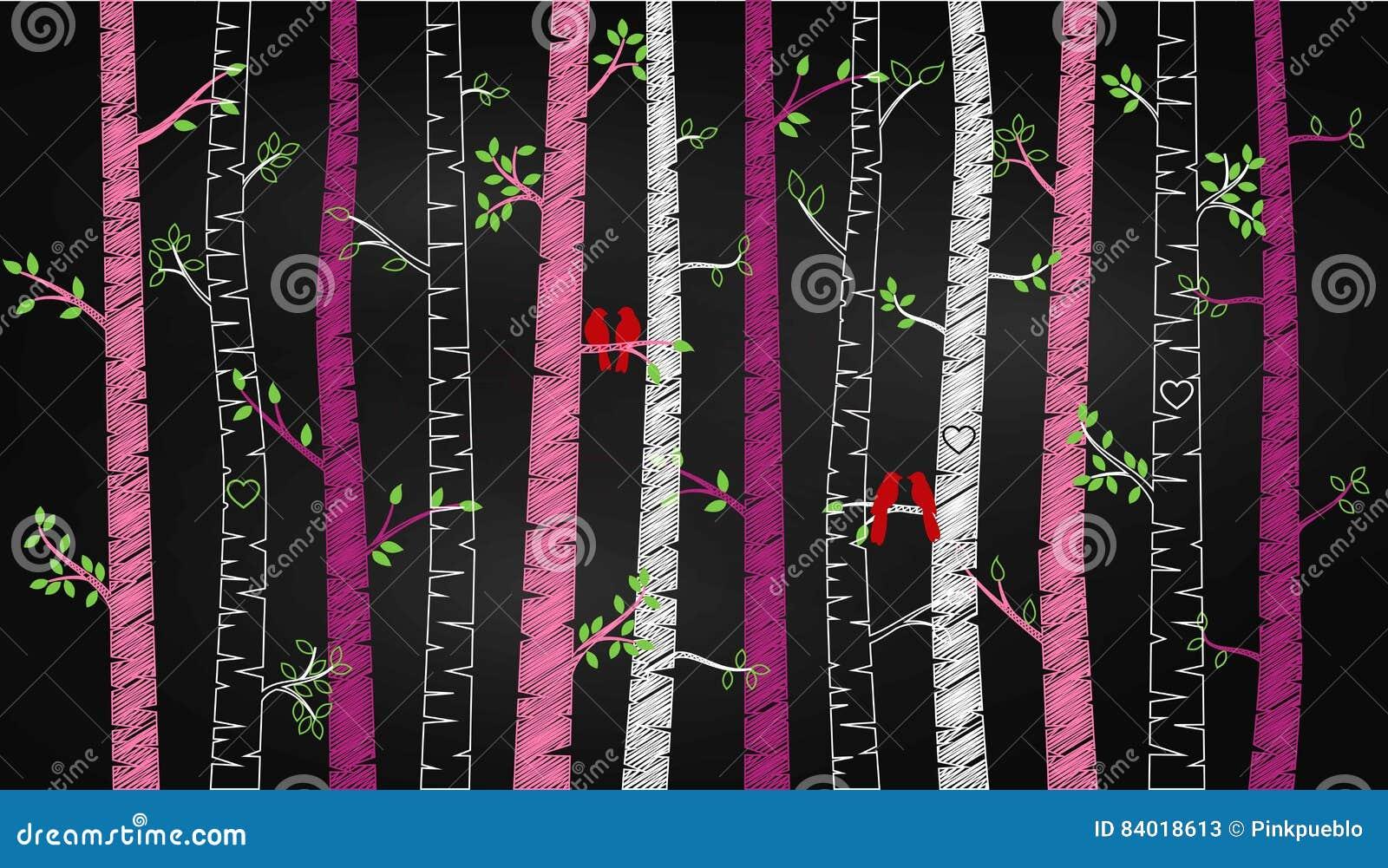 Chalkboard walentynki ` s dnia brzozy osiki lub drzewa sylwetki z Lovebirds