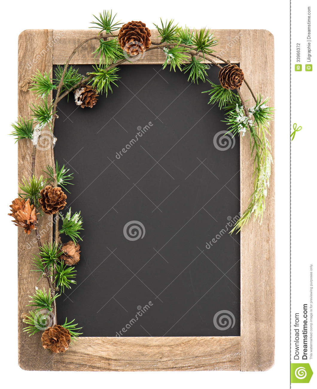 Chalkboard With Wooden Frame And Christmas Decoration Stock Photo ...