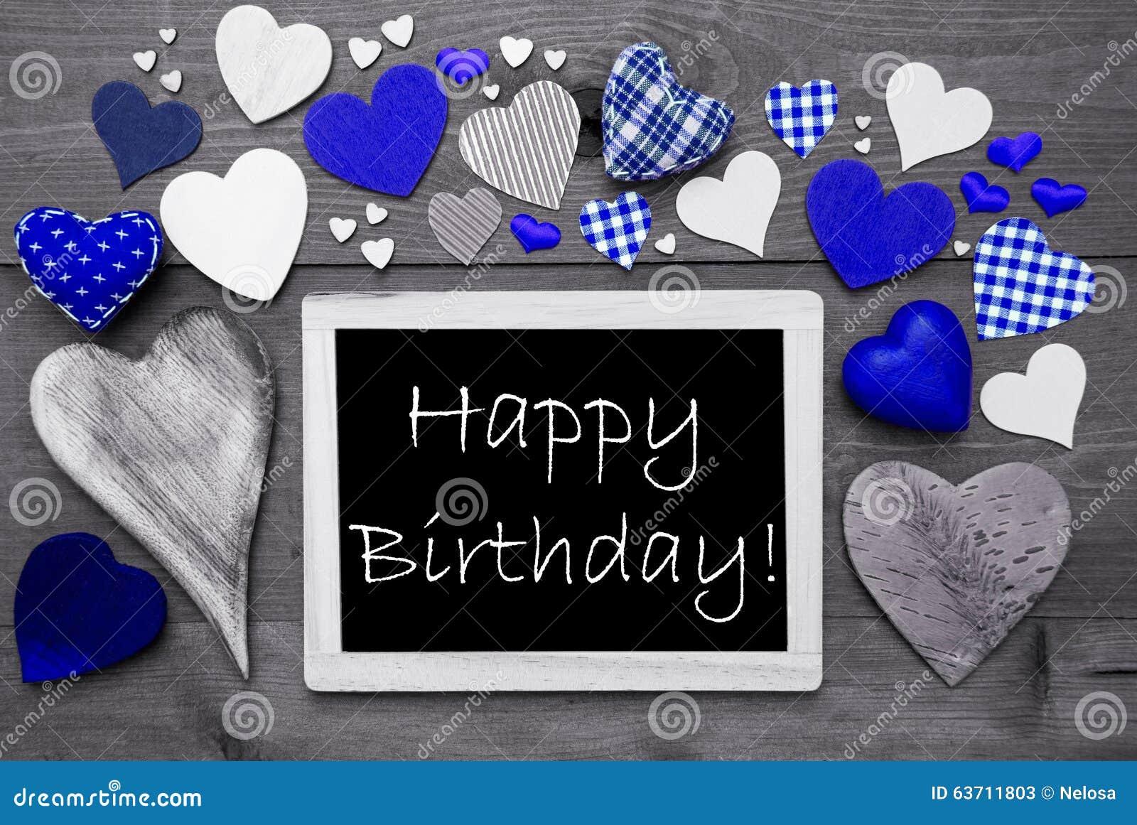 Chalkbord Preto E Branco, Muitos Corações Azuis, Feliz Aniversario Imagem de  Stock - Imagem de chalkbord, corações: 63711803