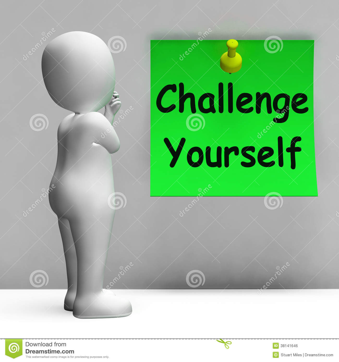 Challenge Yourself Note Means Be Determined And Motivated Stock