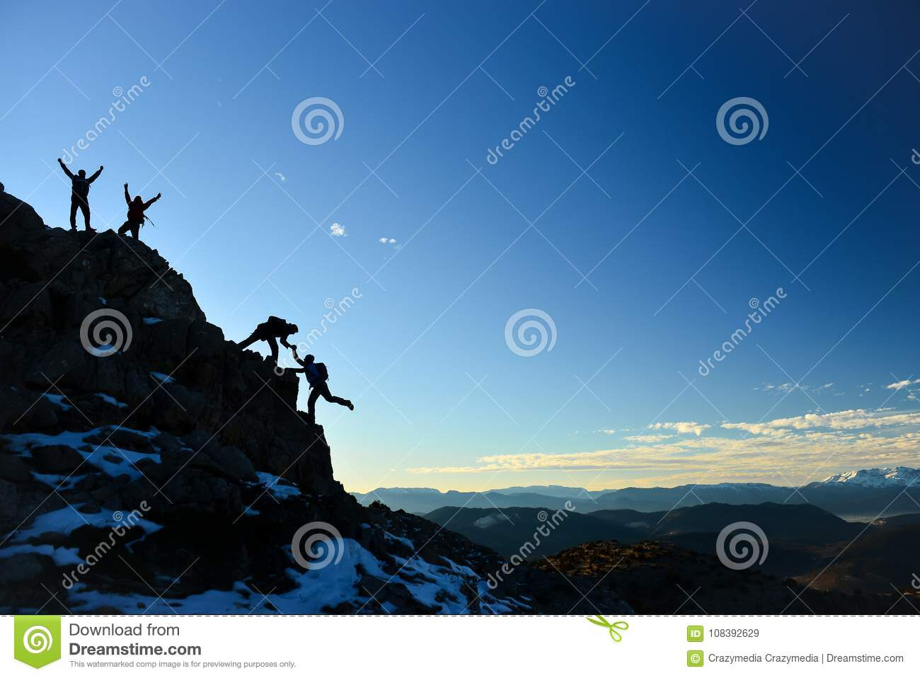 challenging climbing work and determined team stock image image of