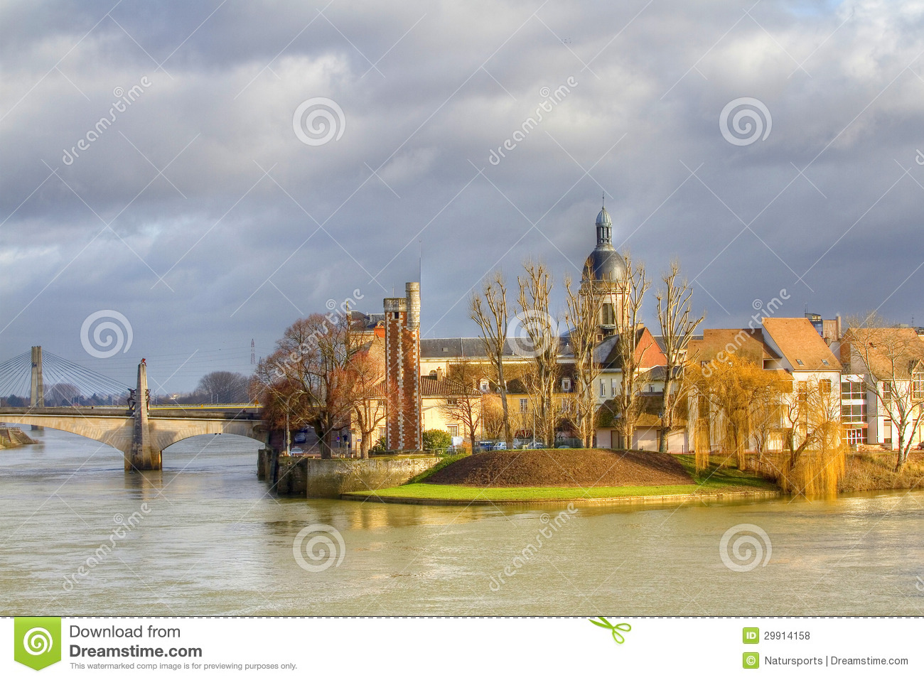 chalon sur saone stock photo image of bridge town. Black Bedroom Furniture Sets. Home Design Ideas