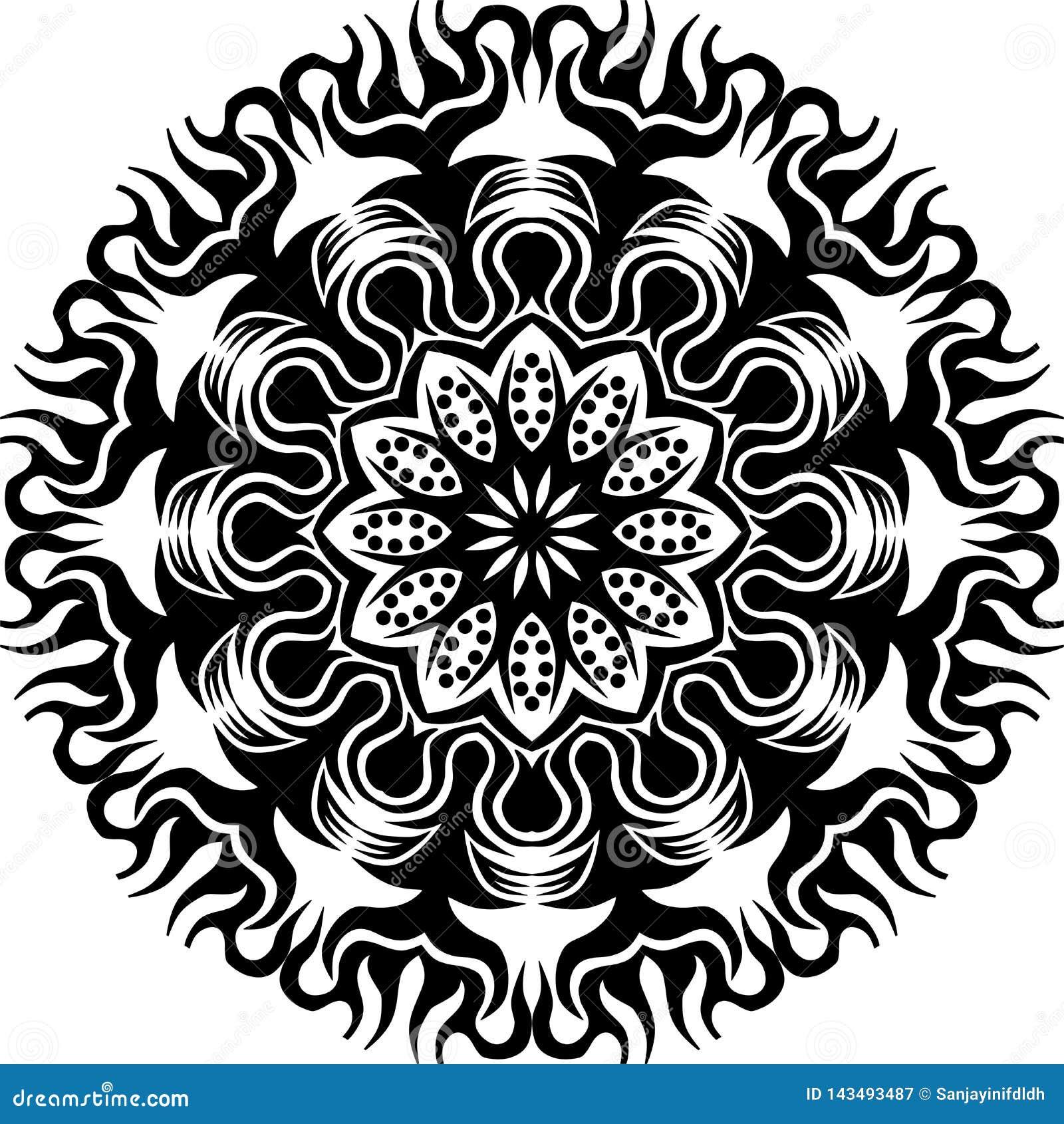 Chama preto e branco e flor circulares abstratas do sol do vetor mandalapattern