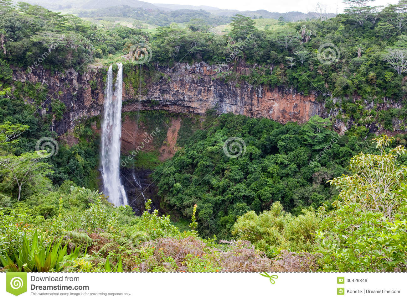 Chamarel waterfalls in Mauritius.Landscape in a sunny day