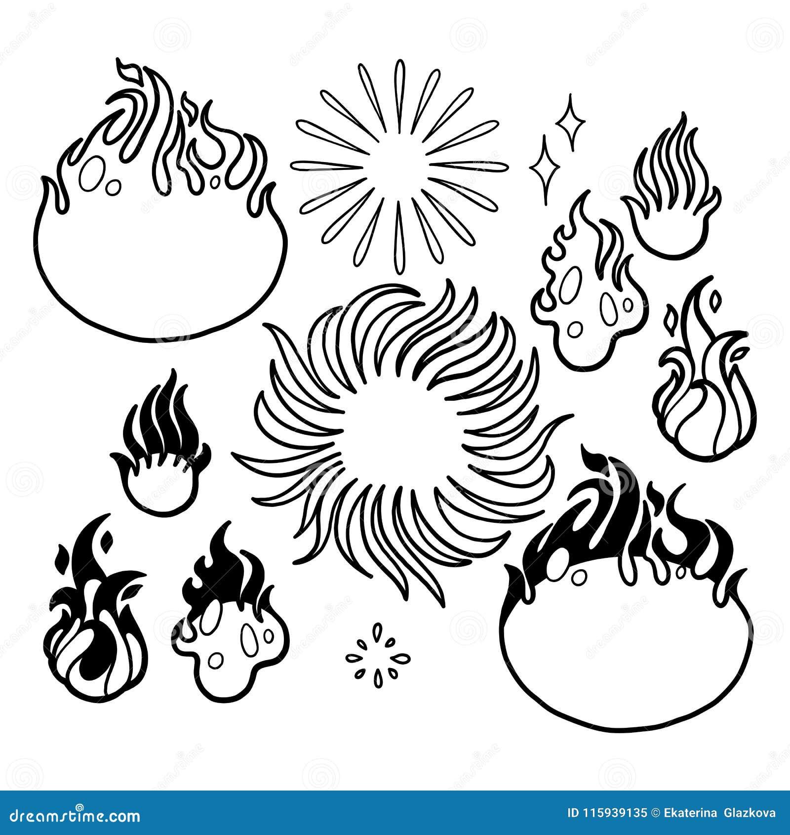 Chamas Graficas Do Fogo Ilustracao Do Vetor Ilustracao De