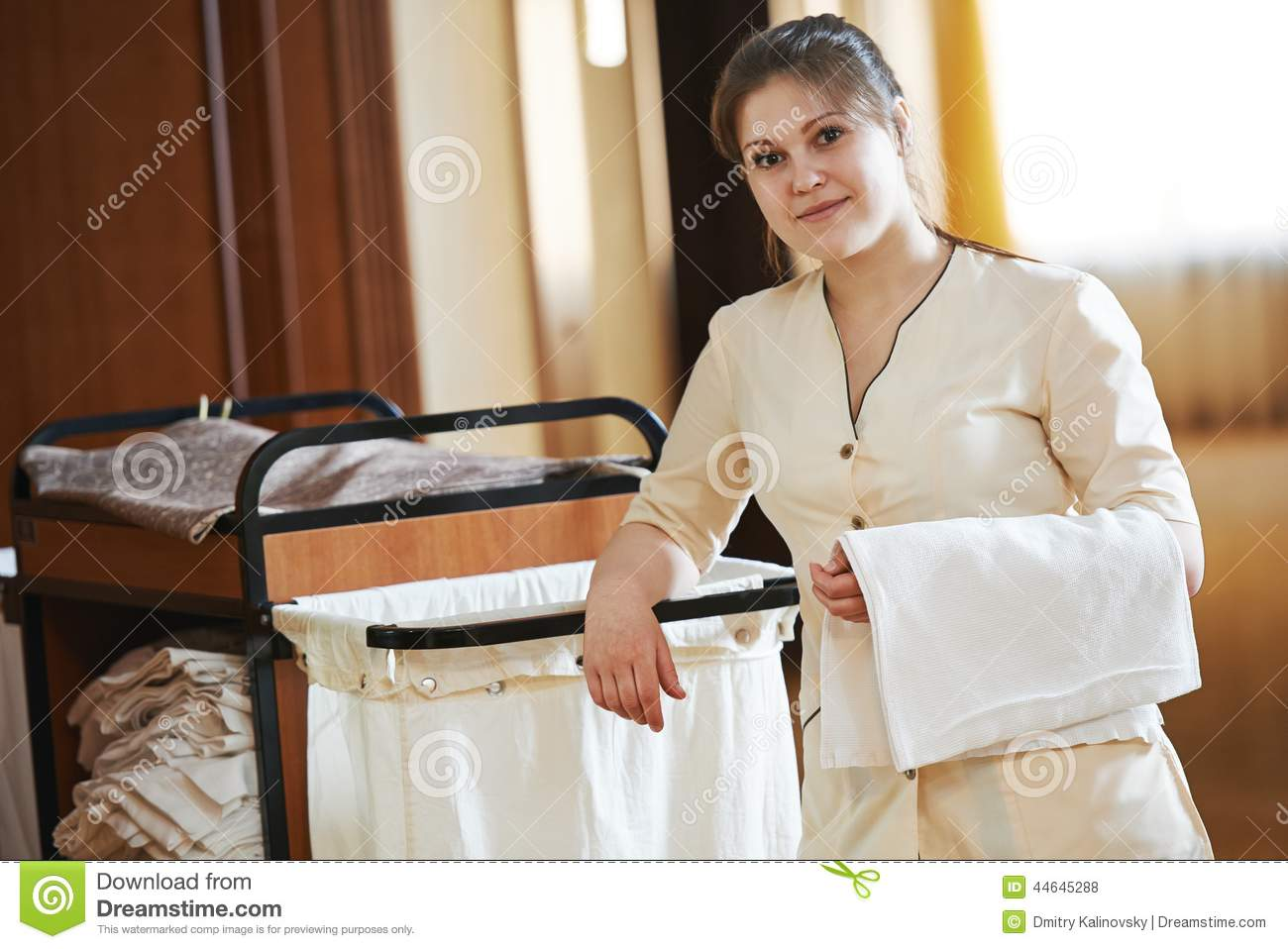 Chambermaid at hotel stock photo image 44645288 - Uniforme femme de chambre hotel ...