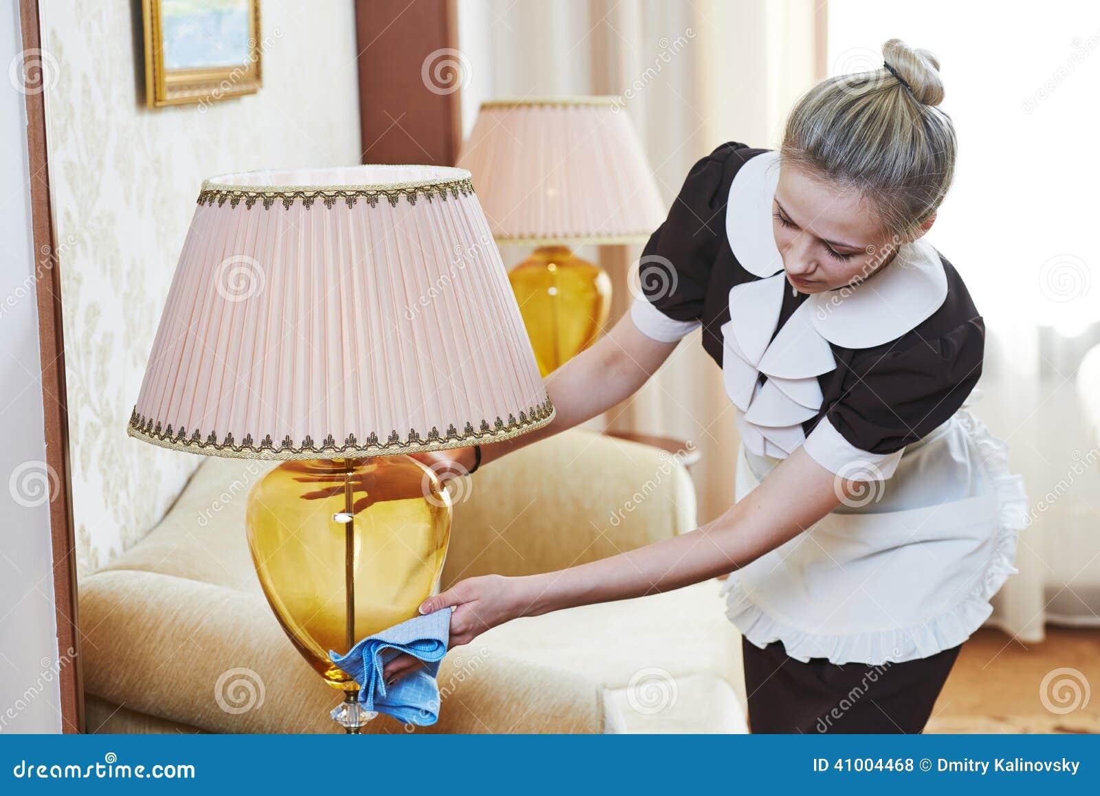 Room Service: Chambermaid At Hotel Service Stock Photo